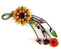 Keychain Flower Genuine Leather Yellow Dahlia Keyring Floral Hook Charm Handbag