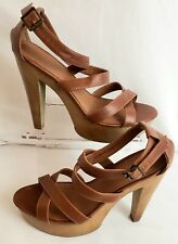 546098fbff MOSSIMO Women's Size 9.5 Ankle Strap Brown Sandals w/ Wood Heels.