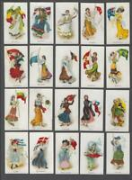 1900's ITC C91 Flag Girls of All Nations Tobacco Cards Complete Set of 50