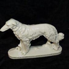 Vintage Porcelain Russian Wolfhound Borzoi Figurine White W/ Gold Trim Japan