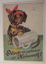"""Hund, Dackel, Oktoberfest, Bierkrug, Biene"" 1960, A. Lengauer ♥ (32025)"