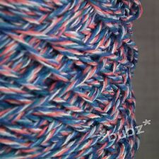 SOFT 4 PLY COTTON YARN CORAL BLUE WHITE TWEED 500g CONE 10 BALLS CROCHET KNIT