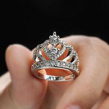 Romantic Princess Crown Heart Wedding Ring 925 Silver Bridal Jewelry Gift Sz5-10