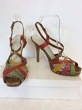 NINE WEST TAN,GREEN,YELLOW & CORAL LEATHER STRAPPY HEELED SANDALS SIZE 4.5/ 37.5