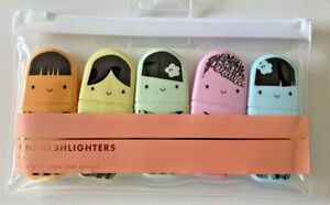 Paperchase Pastel Tokyo Mini Highlighters Office/School/Home- 5 Colours in Case