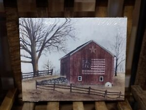 """Flag Barn by Billy Jacobs, Canvas picture, 8""""x10"""", '76 Americana Star Primitive"""