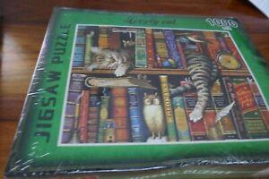 Jigsaw Puzzle- Lovely cat (cat on a bookshelf)- 1000 pcs