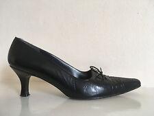 Stuart Weitzman pour F PINET Cuir Noir Chizel bouts Cour Chaussures Pour Femme Taille UK