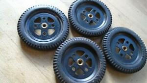 """MECCANO 20A. 2"""" WHEELS WITH TYRES X 4. BLACK. VERY NICE."""