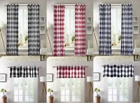 2 PC Plaid Courtyard Buffalo Checker Grommet Window Curtain Panels or 1 Valance