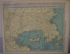 Antique 1929 Large Map Of MASSACHUSETTS Collectible Frameable State Memorabilia