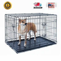 """24"""" Dog Crate Kennel Folding Pet Cage Metal 2Door With Tray Black"""