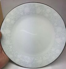Retired Noritake Ravel Pattern White Flowers w/Blue Silver Trim Salad Plate