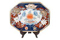 "Oriental Imari Style Pattern Porcelain Hexagonal Tray 14"" x 10.5"""