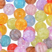 50 Neu Mix Klar Acryl Krackle Spacer Perlen Beads Basteln 12mm