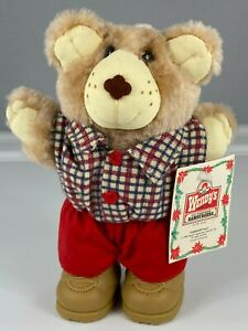"""WENDY'S VINTAGE 1986 BOONE FURSKIN HOLIDAY TEDDY BEARS PLUSH TOY WITH TAGS 7"""""""
