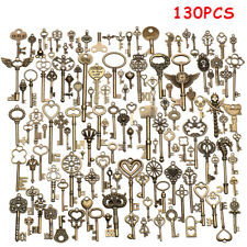 130pcs  Antique Vtg old look Ornate Skeleton Keys Lot Pendant Fancy Heart