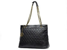 AUTH CHANEL BLACK CLASSIC LAMBSKIN TOTE SHOULDER BAG