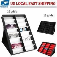 18/16 Grid Eye Glasses Case Sunglasses Display Storage Box Holder Organizer