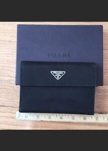 Auth PRADA Logos Tessuto Nylon Leather Trifold Compact Wallet  Italy Oversized