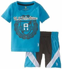 U.S. Polo Assn. Baby Boys' 2 Piece Jersey Tee and Mesh Athletic Short Set