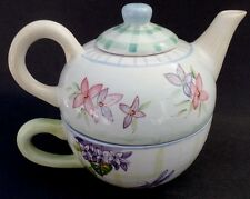 Tea For One Teapot Pot Cup and Lid Set Dragonflies Floral ZRIKE Hand Painted