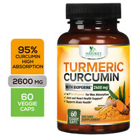 Turmeric Curcumin High Absorption 95% 2600mg with Bioperine Black Pepper Extract
