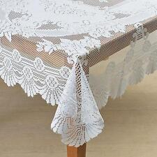 """Lace Tablecloth Ivory Fabric Lace Rose & Scalloped Tablecloth Overlay 70"""" ROUND"""