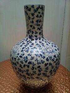 Large Vintage Blue Floral Ceramic Vase