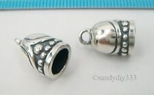 1 pc x  BALI OXIDIZED STERLING SILVER LEATHER CORD DOME END CAP 6mm N859