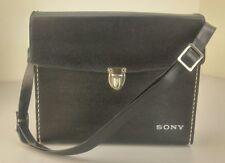 RARE Vintage Sony Hard Case Black Textured Faux Leather Purse Camera Electronics