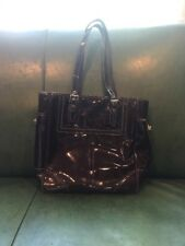 Coach Mahogany Brown Perforated Trim Patent Leather Tote Purse F11519