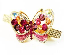 HAIR PIN Clip CZ Crystal Swarovski ELMT Cubic Zirconia Butterfly Barrette Pink