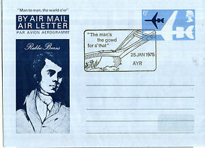 25 JANUARY 1975 ROBERT BURNS AIR MAIL LETTER BURNS NIGHT AYR SHS