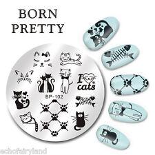 BORN PRETTY Nail Art Stamping Image Plate Stencil Cute Cats Design DIY BP-102