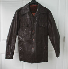 Vintage Brown Leather 1970's 1980s Western Safari Jacket Coat