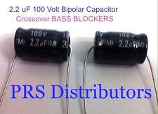 2.2 uF 100 Volt BIPOLAR CAPACITOR BASS BLOCKER SPEAKER TWEETER CROSSOVER 1 Pair