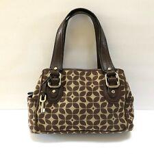 Fossil Satchel Handbag Purse Shoulder Bag Brown Tan Fabric Leather Key Fob Charm
