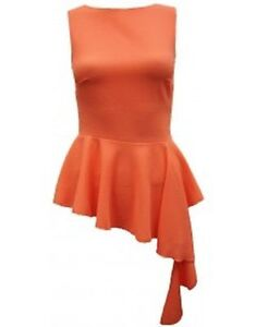 JOHN ZACK PARTY SCOOP NECK SLEEVLES CORAL  PEPLUM TOP WITH WATERFALL EFFECT TRIM
