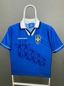 BRAZIL NATIONAL 1994 - 1997 UMBRO AWAY FOOTBALL SHIRT JERSEY SIZE YOUTH L RARE