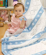 "(CBB17) CROCHET PATTERN - BEAUTIFUL LAZY DAISY BABY BLANKET ONE SIZE 44"" x 46"""