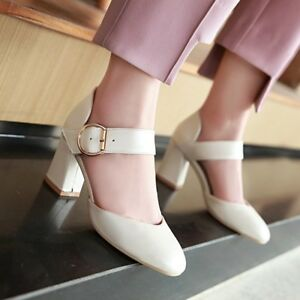 Women Round Toe Ankle Strap Solid Sandals Block High Heels Buckle Elegant Shoes