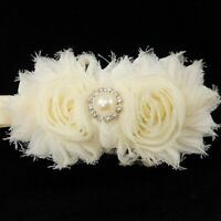 Newborn Headband Christening Antique White Ivory Flowers Faux Pearl Baby Girl