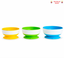 Munchkin Three Stay Put Suction Non Spill Toddler's Bowl Kids 3 Pack