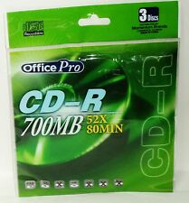 3 Pack Of Compact Discs Office Pro Recordable CD-R 700MB 52X 80MIN NIP