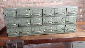 "Vintage Equipto USA 18 Drawer Metal Parts Cabinet -17"" long drawers # 8540"