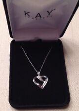 Kay Jewelers Retired Diamond Heart Necklace 1/8 ct tw Diamonds 10k White Gold