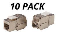 10x Keystone Jack Cat6 RJ45 Network Module FTP Toolfree 180-Degree Slim Shielded