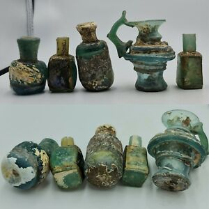 5 pc  Ancient rare  Roman Glass Jug & Bottles Vessels with Full Patina