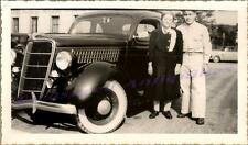 1935 Ford Deluxe V8 Five Window Coupe Car & US Army Sergeant GI Man Woman Photo